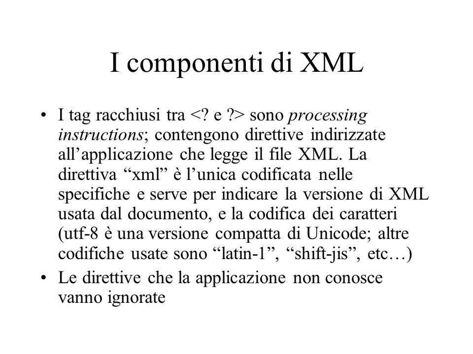 I componenti di XML