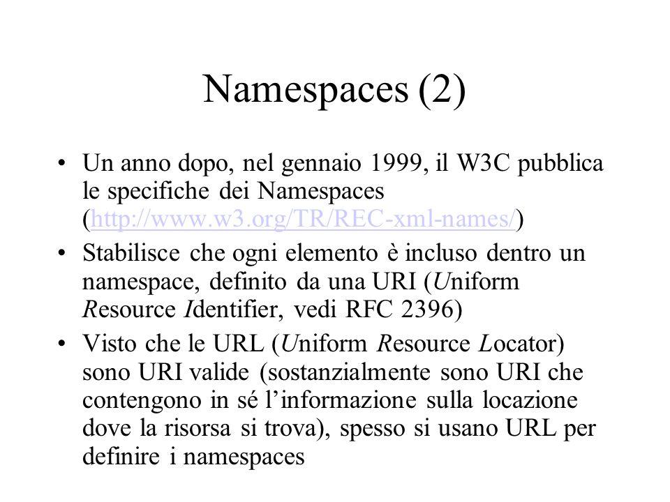 Namespaces (2) Un anno dopo, nel gennaio 1999, il W3C pubblica le specifiche dei Namespaces (http://www.w3.org/TR/REC-xml-names/)