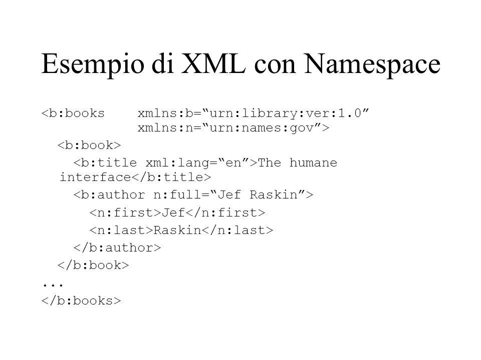 Esempio di XML con Namespace