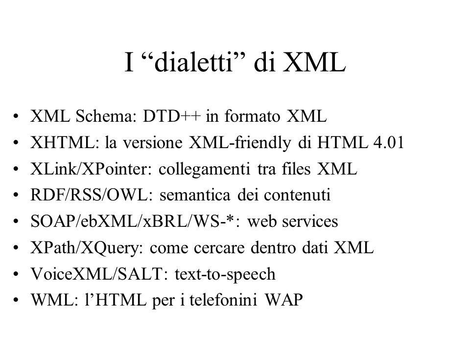 I dialetti di XML XML Schema: DTD++ in formato XML