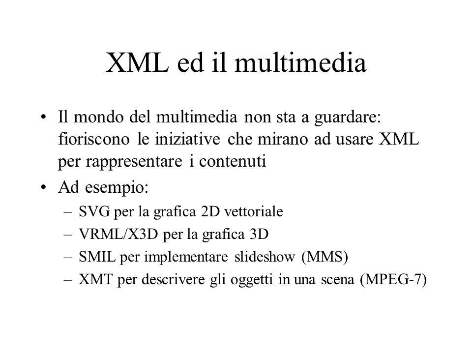 XML ed il multimedia Il mondo del multimedia non sta a guardare: fioriscono le iniziative che mirano ad usare XML per rappresentare i contenuti.