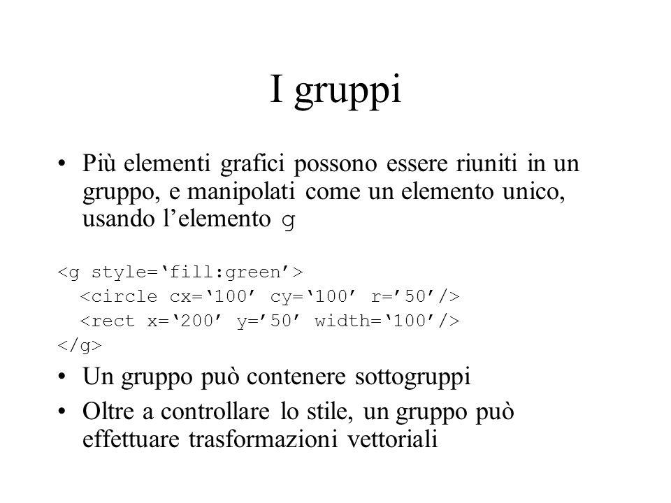 I gruppi Più elementi grafici possono essere riuniti in un gruppo, e manipolati come un elemento unico, usando l'elemento g.