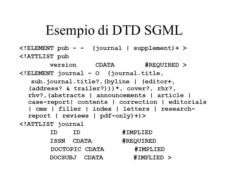 Esempio di DTD SGML <!ELEMENT pub - - (journal | supplement)+ >