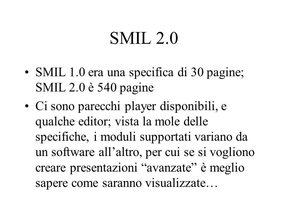 SMIL 2.0 SMIL 1.0 era una specifica di 30 pagine; SMIL 2.0 è 540 pagine.