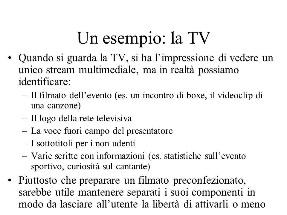 Un esempio: la TV Quando si guarda la TV, si ha l'impressione di vedere un unico stream multimediale, ma in realtà possiamo identificare: