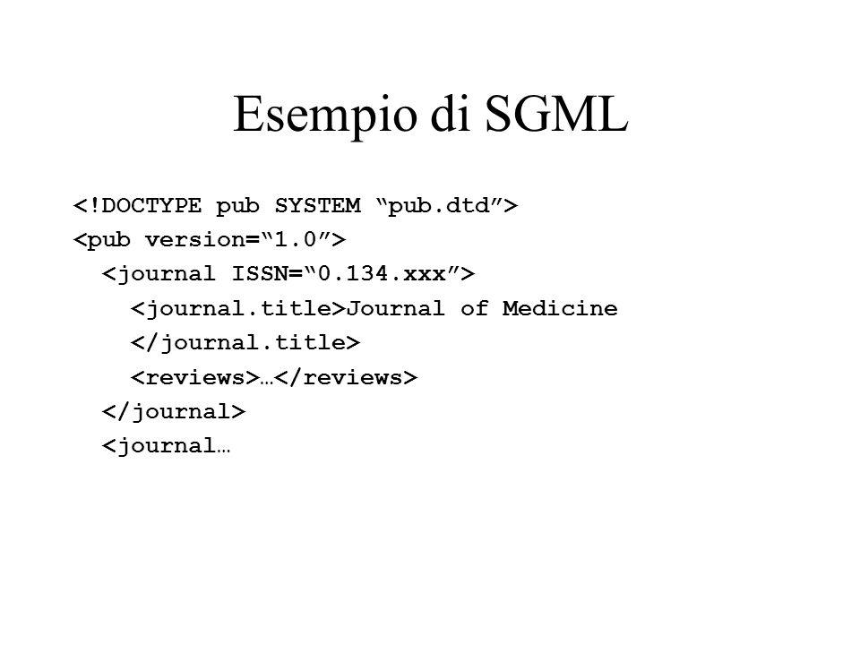Esempio di SGML <!DOCTYPE pub SYSTEM pub.dtd >