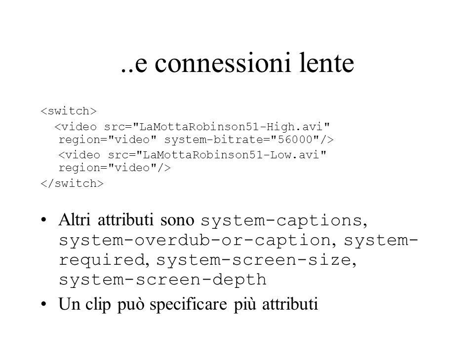 ..e connessioni lente <switch> <video src= LaMottaRobinson51-High.avi region= video system-bitrate= 56000 />