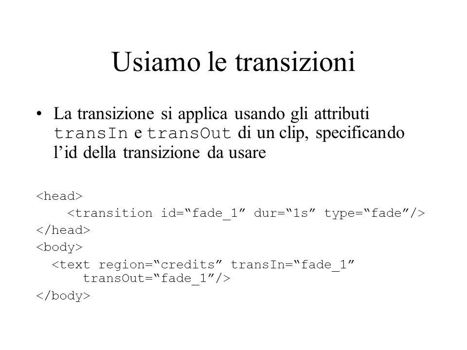 Usiamo le transizioni La transizione si applica usando gli attributi transIn e transOut di un clip, specificando l'id della transizione da usare.
