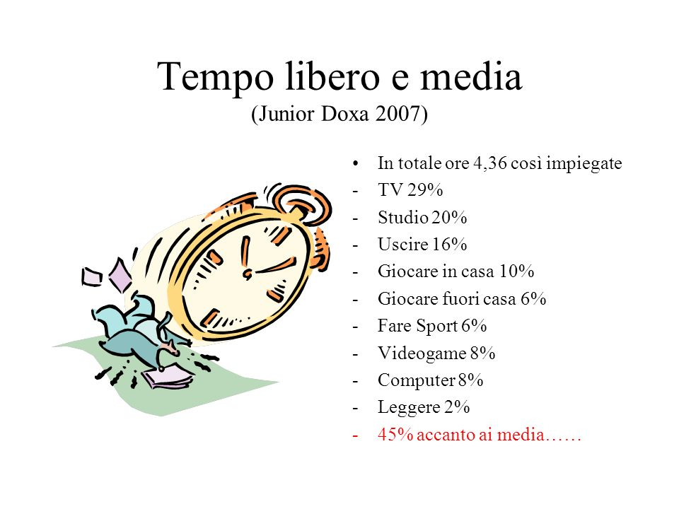 Tempo libero e media (Junior Doxa 2007)