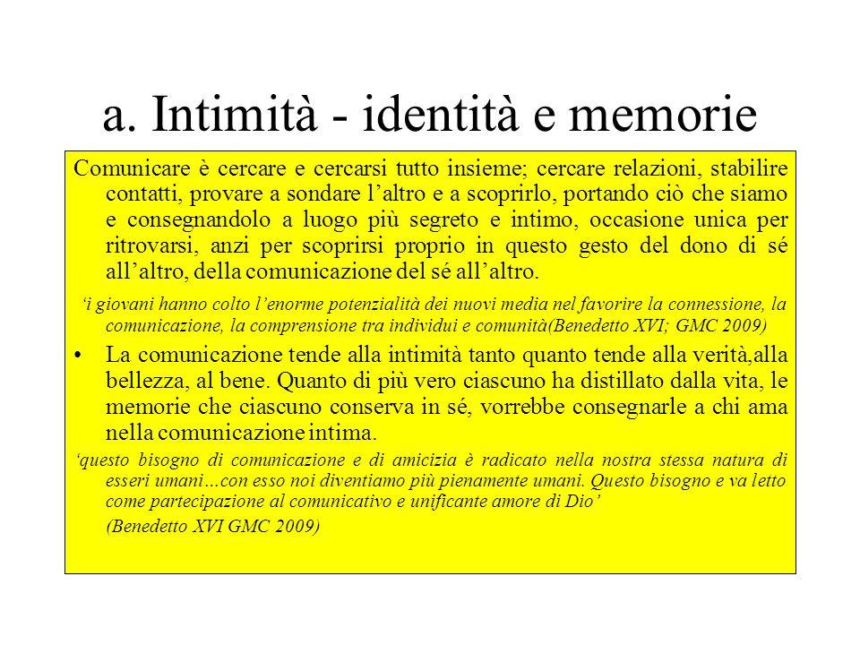 a. Intimità - identità e memorie
