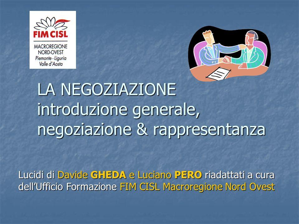 LA NEGOZIAZIONE introduzione generale, negoziazione & rappresentanza
