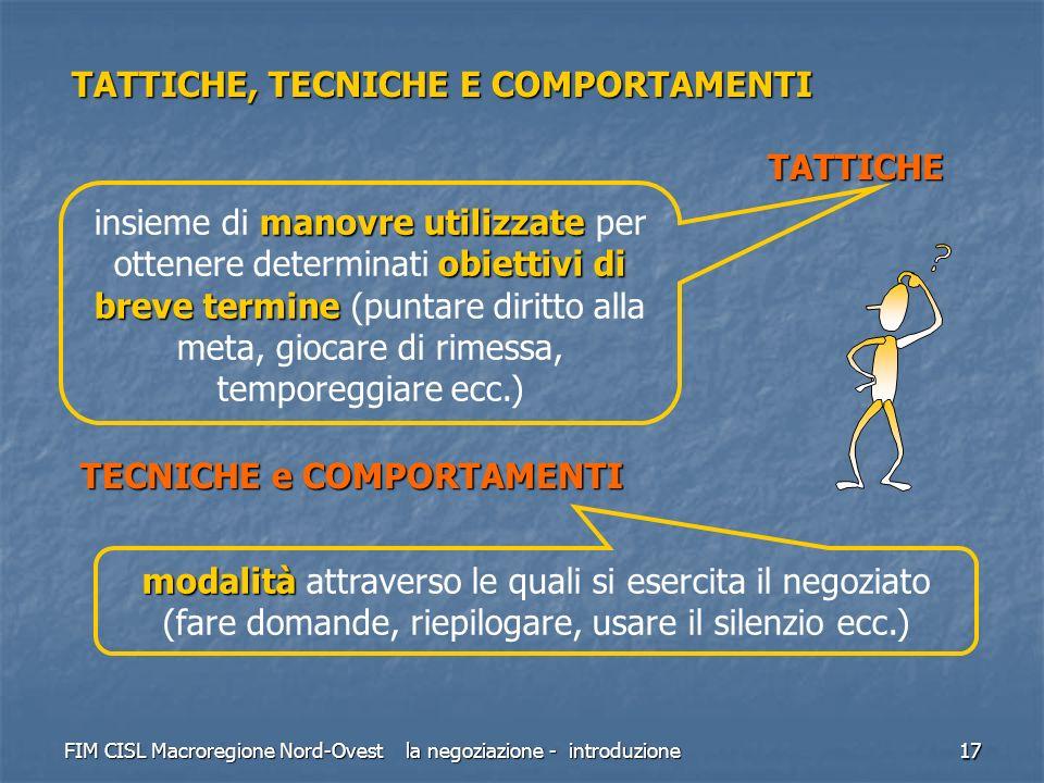 TATTICHE, TECNICHE E COMPORTAMENTI