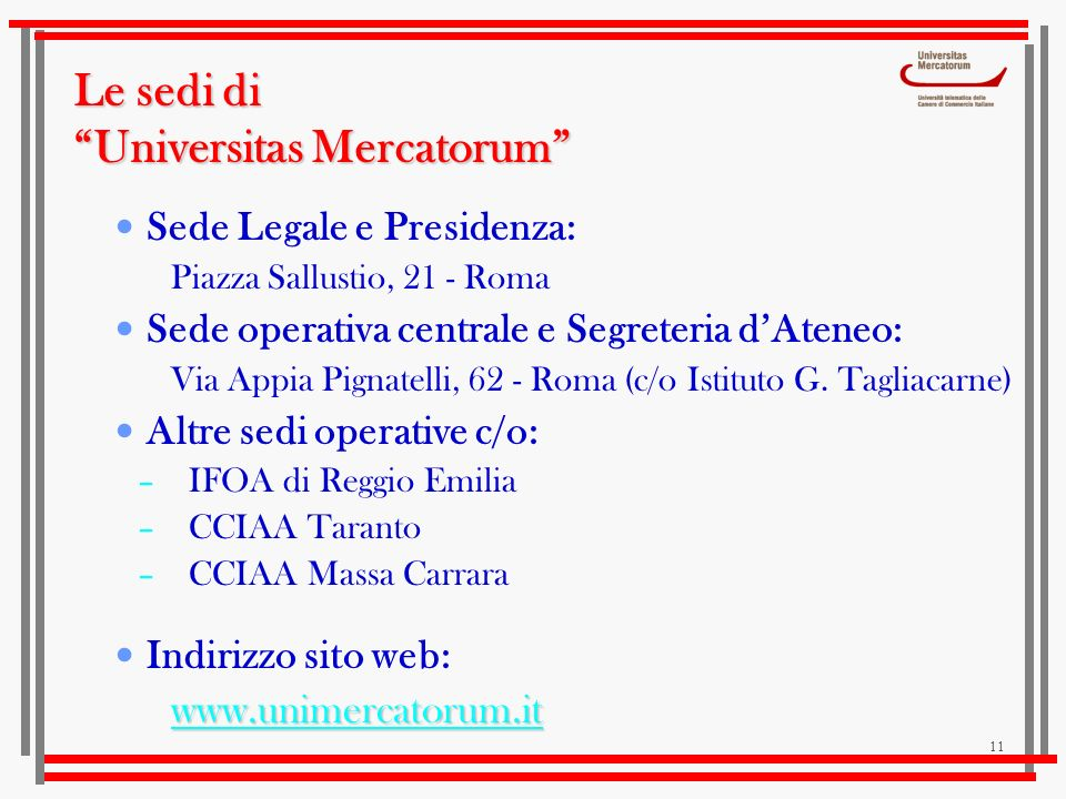 Le sedi di Universitas Mercatorum