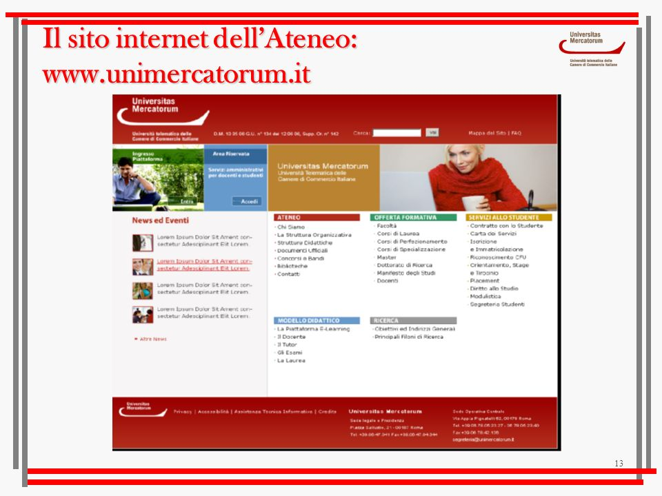 Il sito internet dell'Ateneo: www.unimercatorum.it