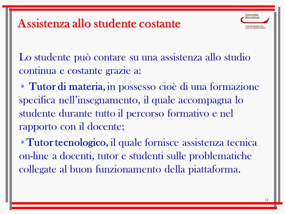 Assistenza allo studente costante