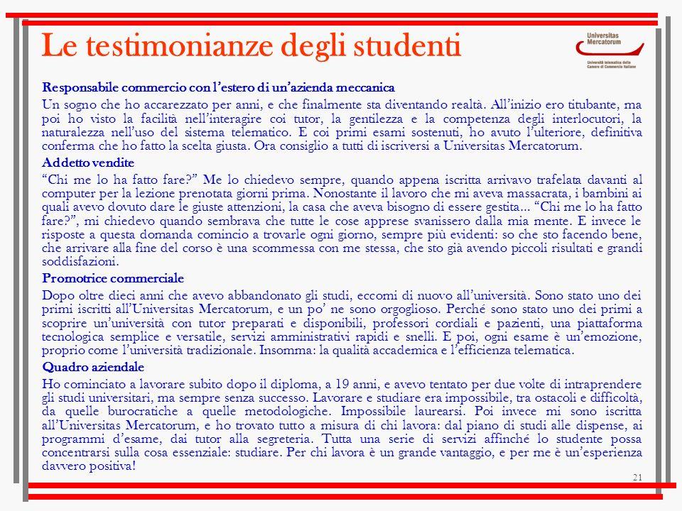 Le testimonianze degli studenti
