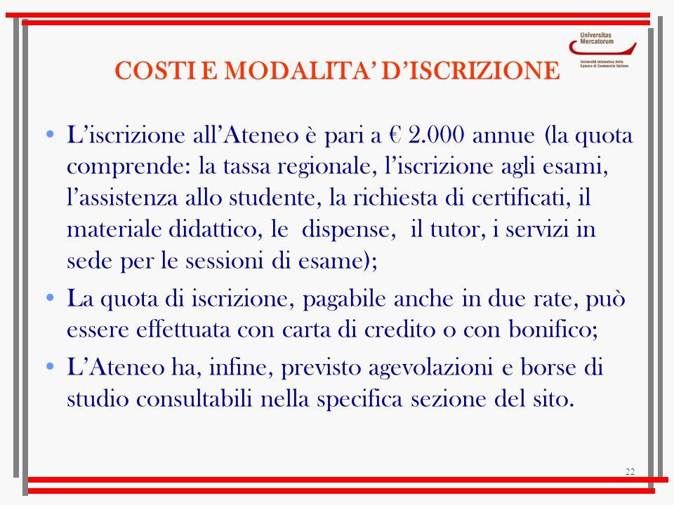 COSTI E MODALITA' D'ISCRIZIONE