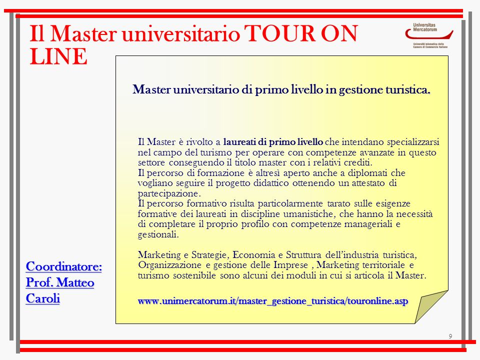 Il Master universitario TOUR ON LINE
