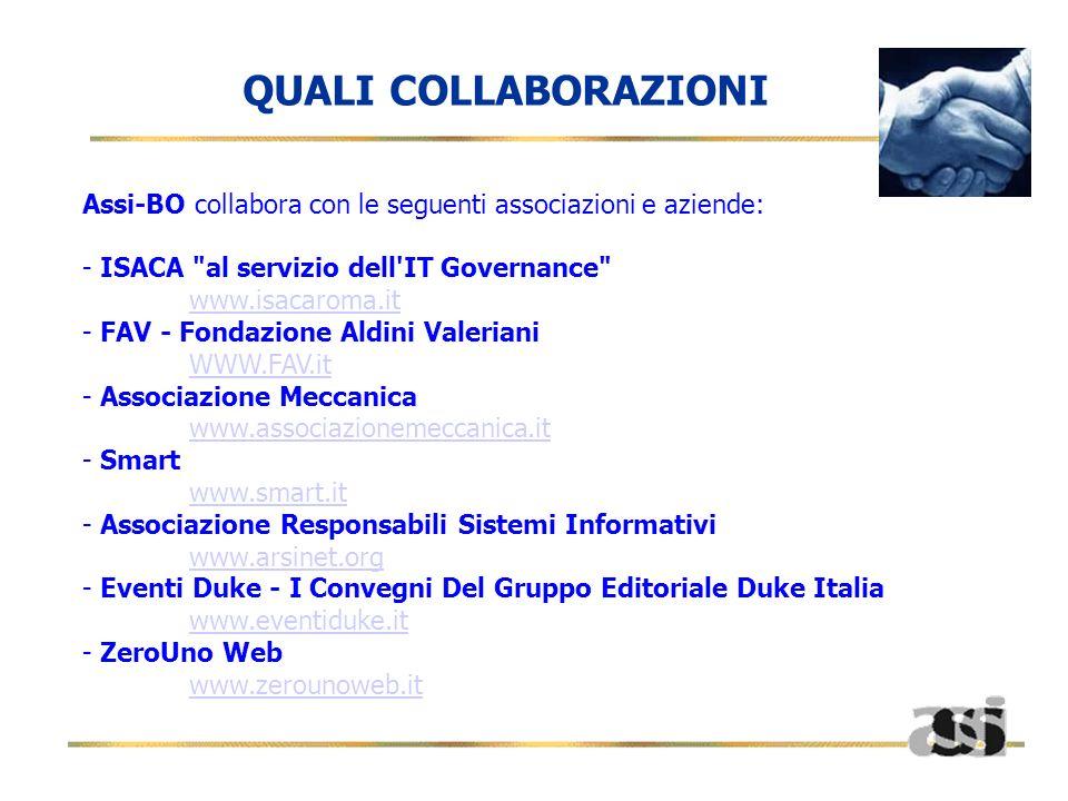 QUALI COLLABORAZIONI Assi-BO collabora con le seguenti associazioni e aziende: ISACA al servizio dell IT Governance www.isacaroma.it.