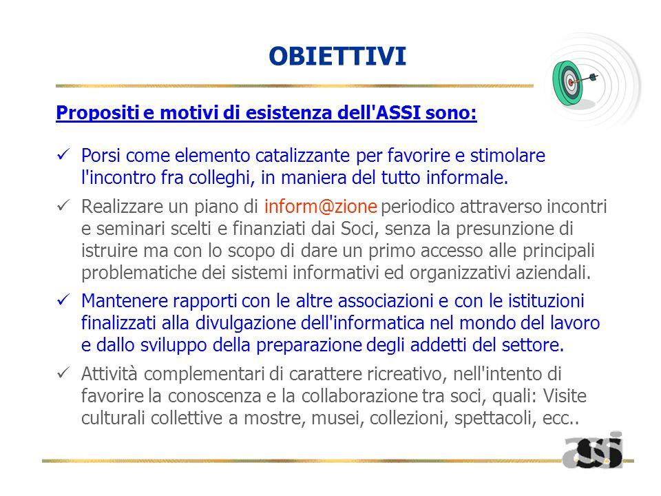 OBIETTIVI Propositi e motivi di esistenza dell ASSI sono: