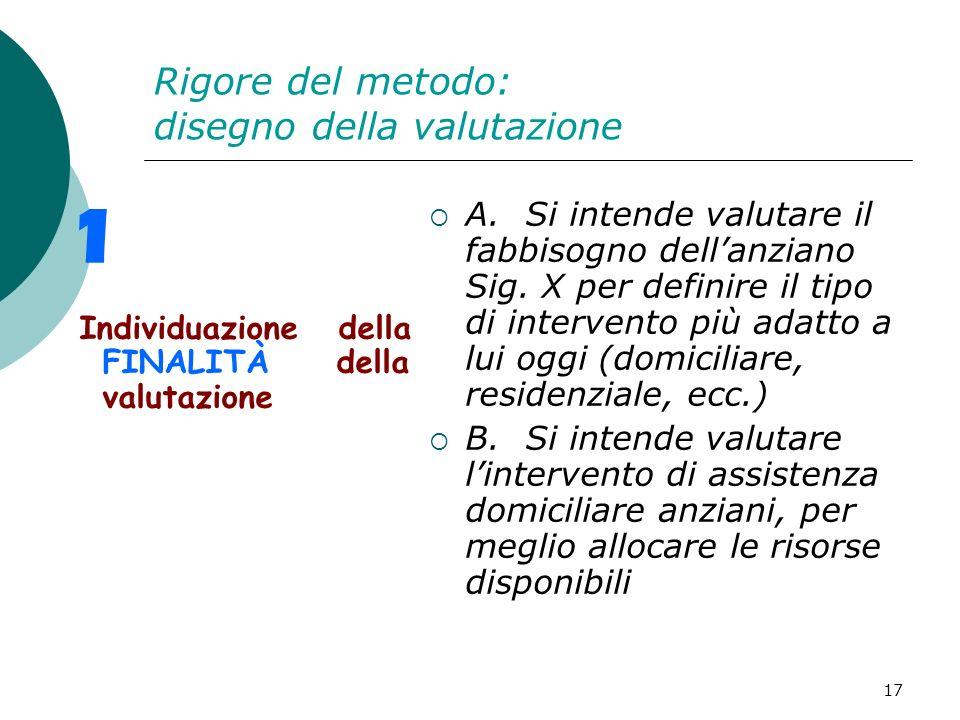 Rigore del metodo: disegno della valutazione