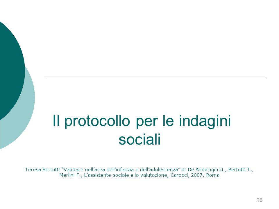 Il protocollo per le indagini sociali Teresa Bertotti Valutare nell'area dell'infanzia e dell'adolescenza in De Ambrogio U., Bertotti T., Merlini F., L'assistente sociale e la valutazione, Carocci, 2007, Roma