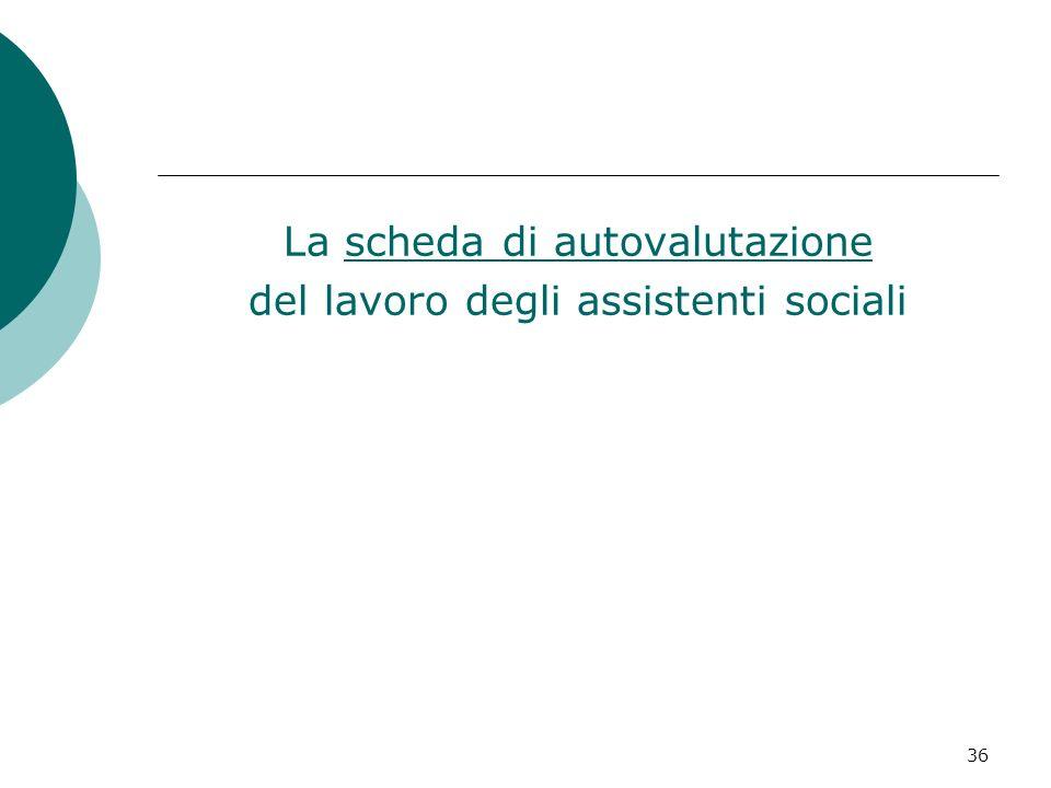 La scheda di autovalutazione del lavoro degli assistenti sociali