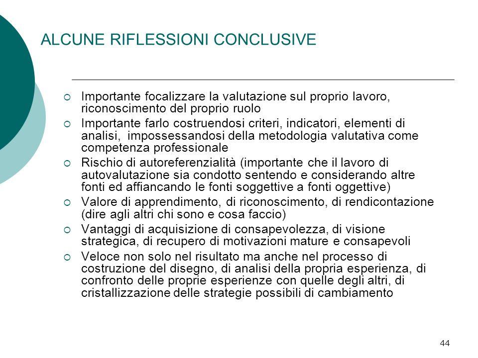 ALCUNE RIFLESSIONI CONCLUSIVE