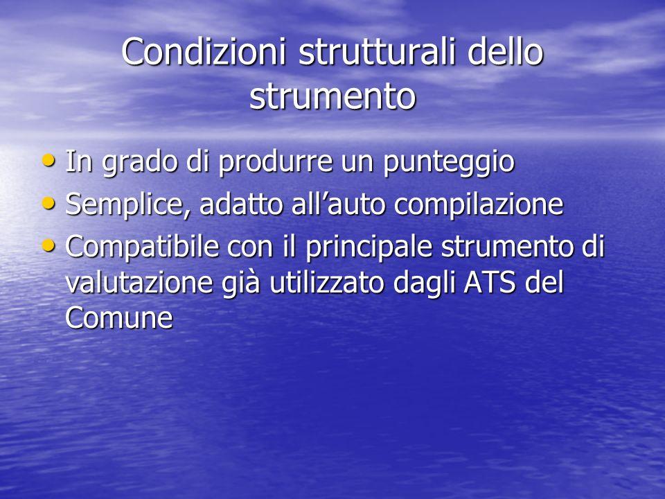 Condizioni strutturali dello strumento