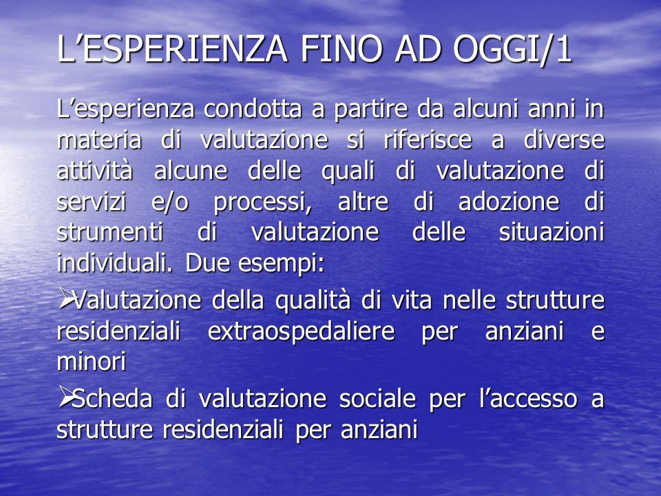 L'ESPERIENZA FINO AD OGGI/1