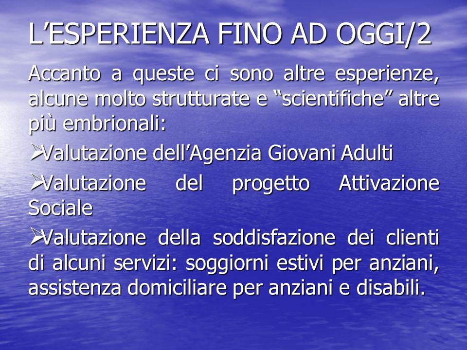 L'ESPERIENZA FINO AD OGGI/2