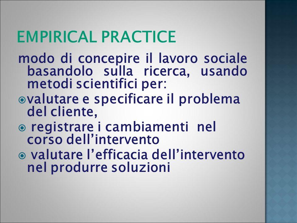 EMPIRICAL PRACTICE modo di concepire il lavoro sociale basandolo sulla ricerca, usando metodi scientifici per: