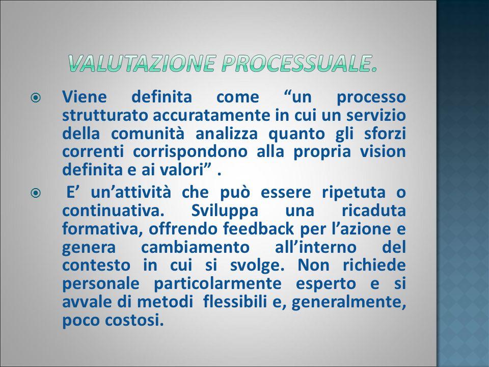 Viene definita come un processo strutturato accuratamente in cui un servizio della comunità analizza quanto gli sforzi correnti corrispondono alla propria vision definita e ai valori .