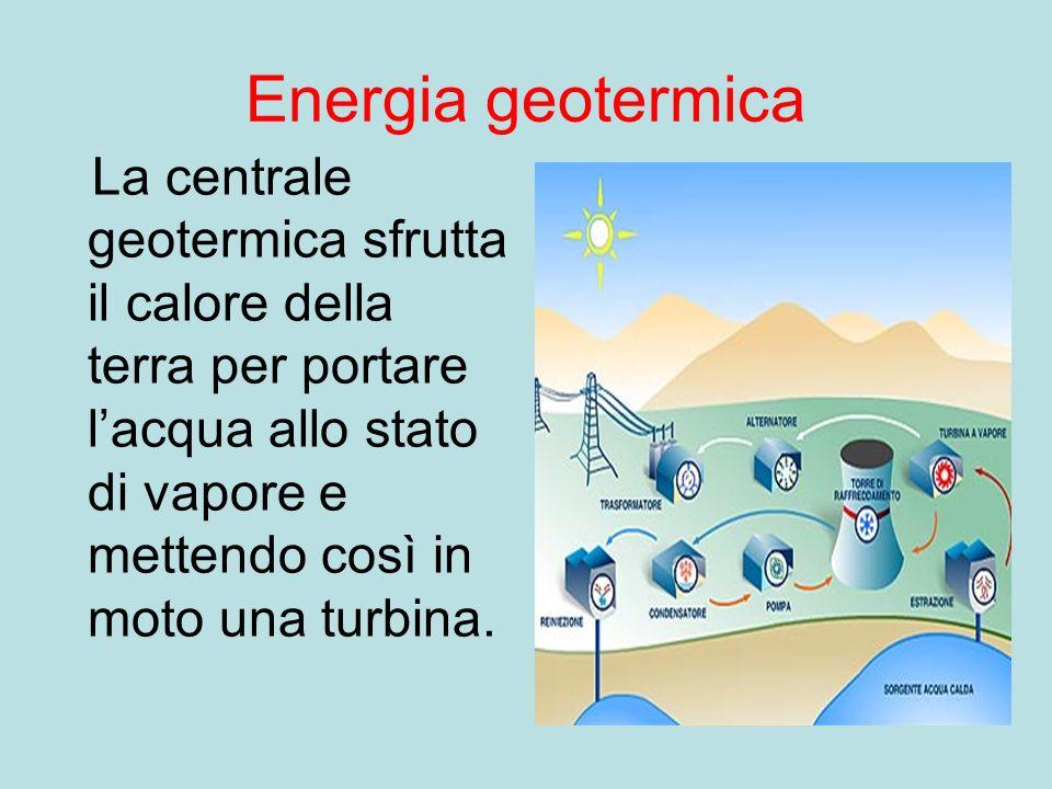 Energia geotermica La centrale geotermica sfrutta il calore della terra per portare l'acqua allo stato di vapore e mettendo così in moto una turbina.