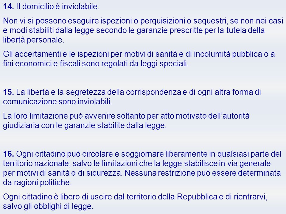 14. Il domicilio è inviolabile.