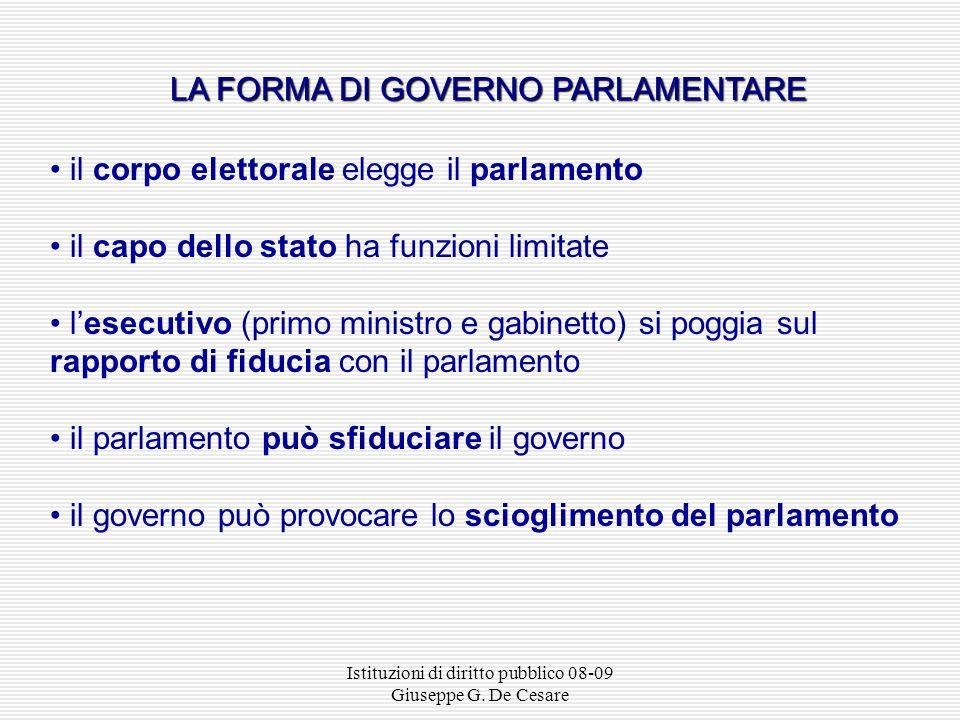 LA FORMA DI GOVERNO PARLAMENTARE