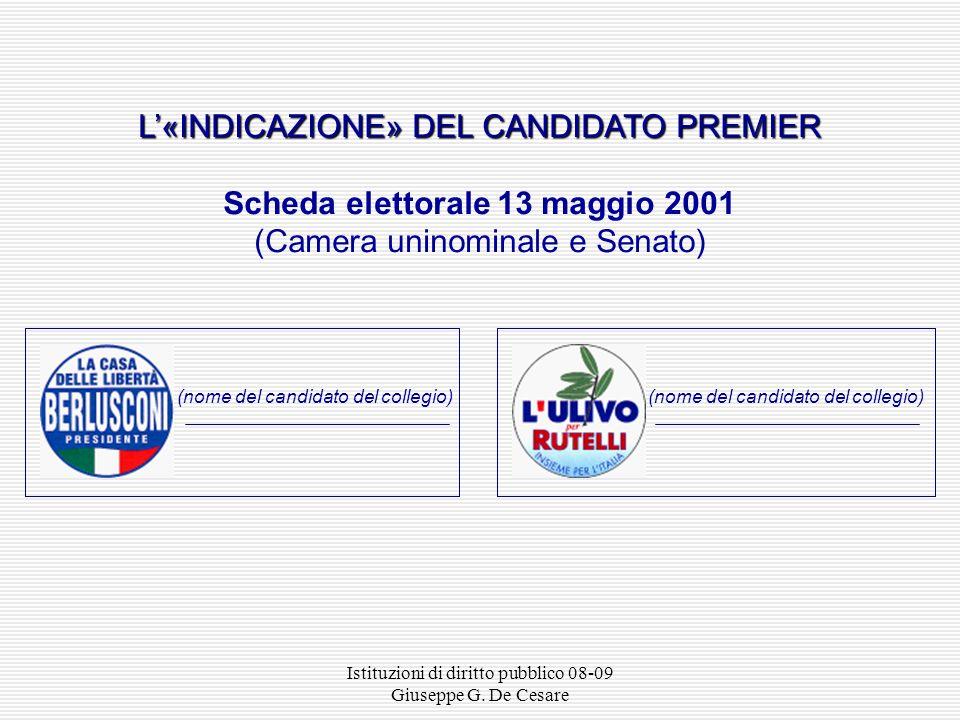 Scheda elettorale 13 maggio 2001