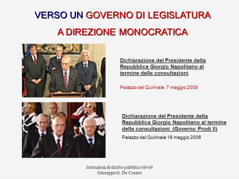 VERSO UN GOVERNO DI LEGISLATURA A DIREZIONE MONOCRATICA