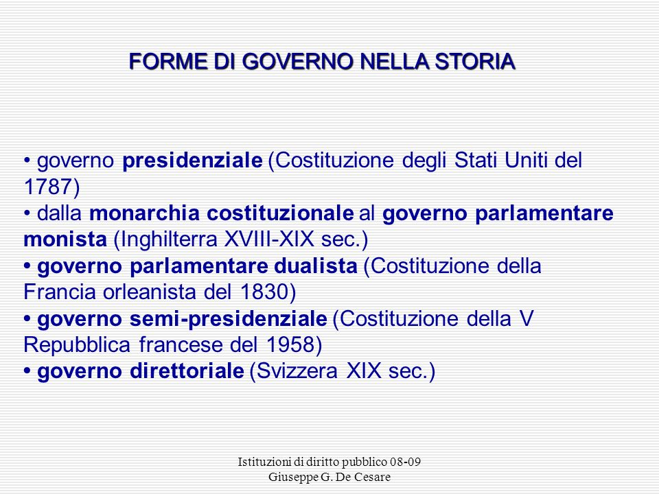 FORME DI GOVERNO NELLA STORIA