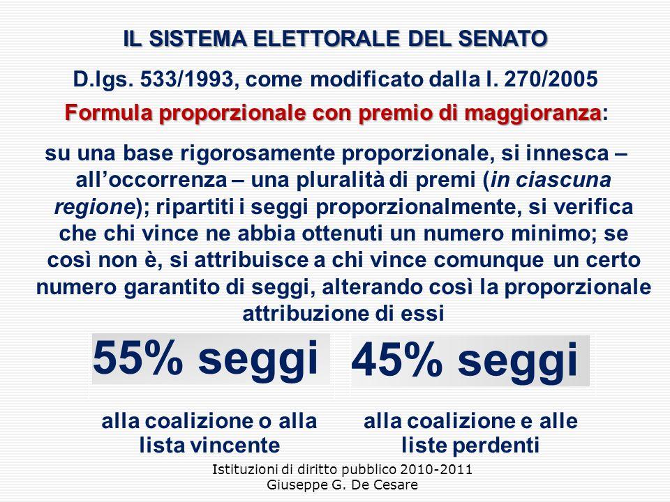 55% seggi 45% seggi IL SISTEMA ELETTORALE DEL SENATO