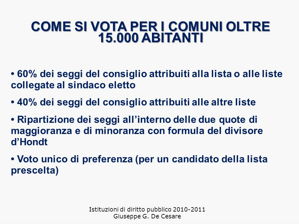 COME SI VOTA PER I COMUNI OLTRE 15.000 ABITANTI