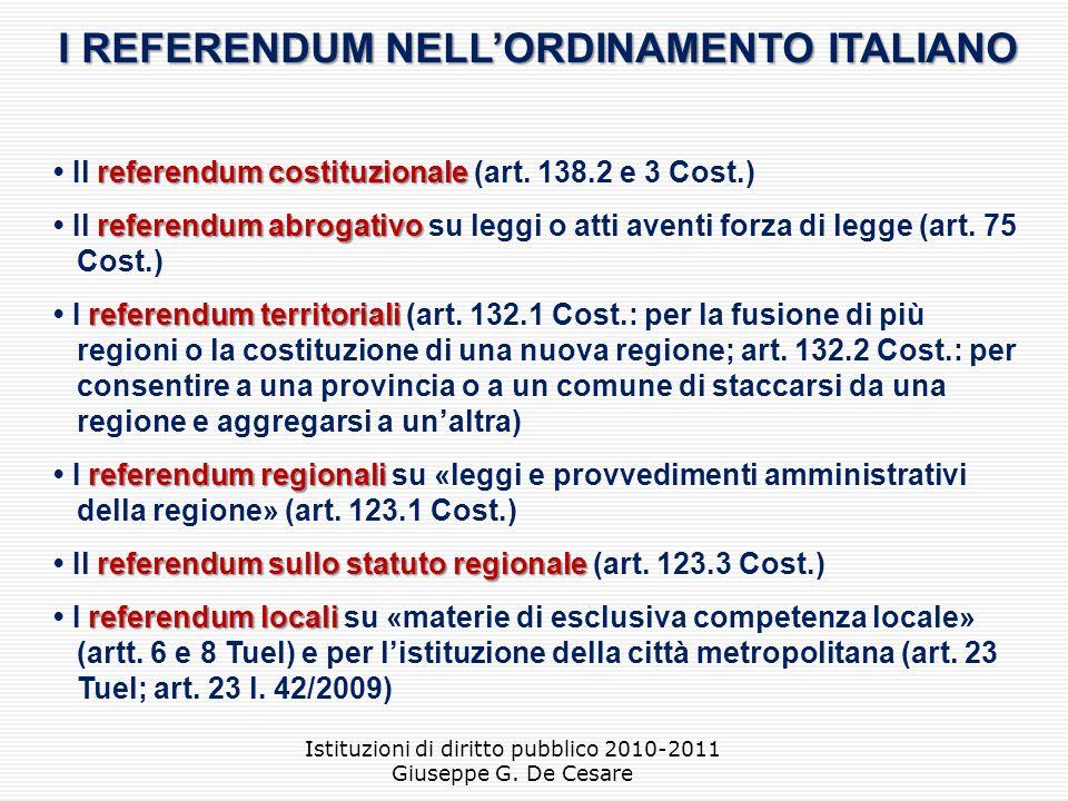I REFERENDUM NELL'ORDINAMENTO ITALIANO