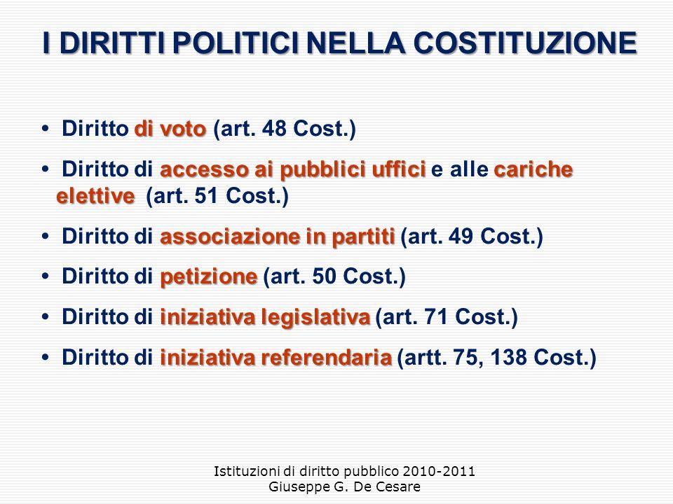 I DIRITTI POLITICI NELLA COSTITUZIONE