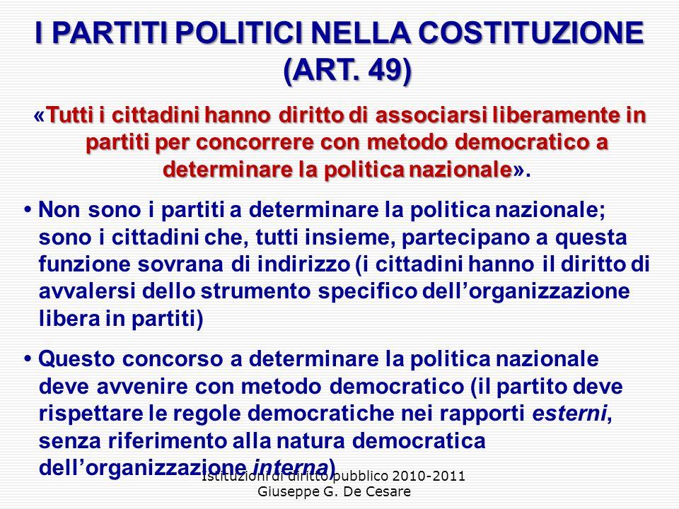 I PARTITI POLITICI NELLA COSTITUZIONE (ART. 49)