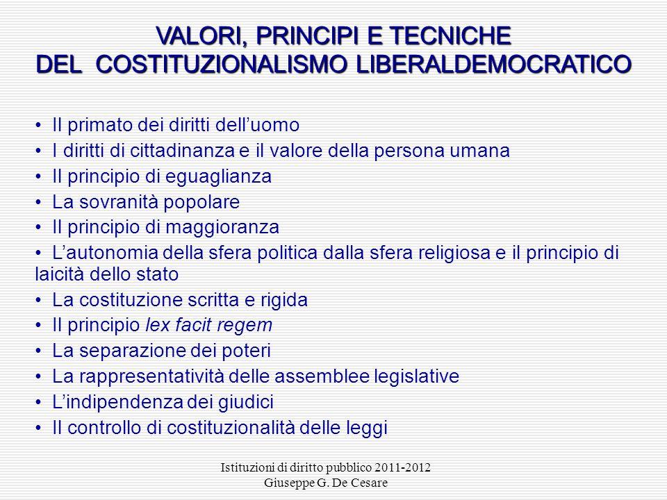 VALORI, PRINCIPI E TECNICHE DEL COSTITUZIONALISMO LIBERALDEMOCRATICO