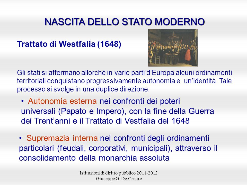 NASCITA DELLO STATO MODERNO