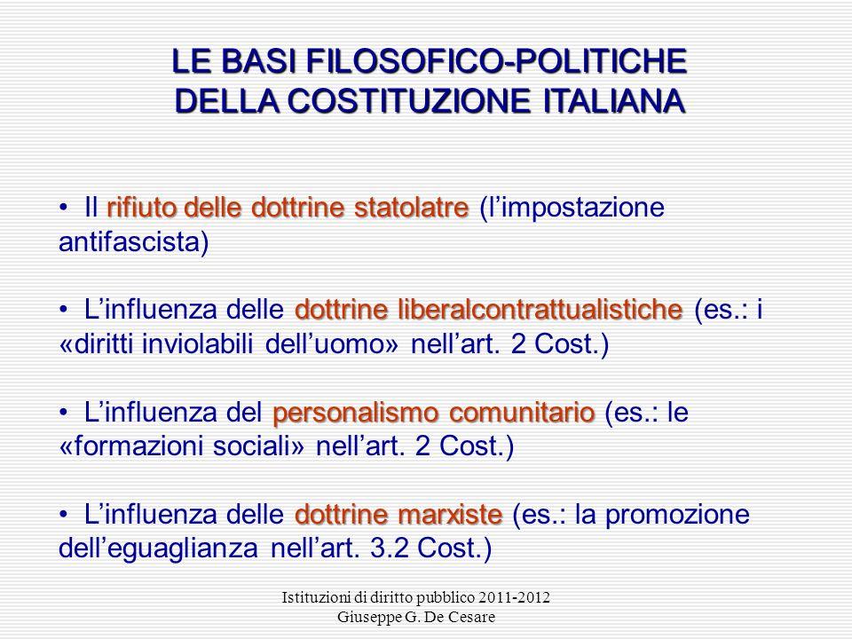 LE BASI FILOSOFICO-POLITICHE DELLA COSTITUZIONE ITALIANA