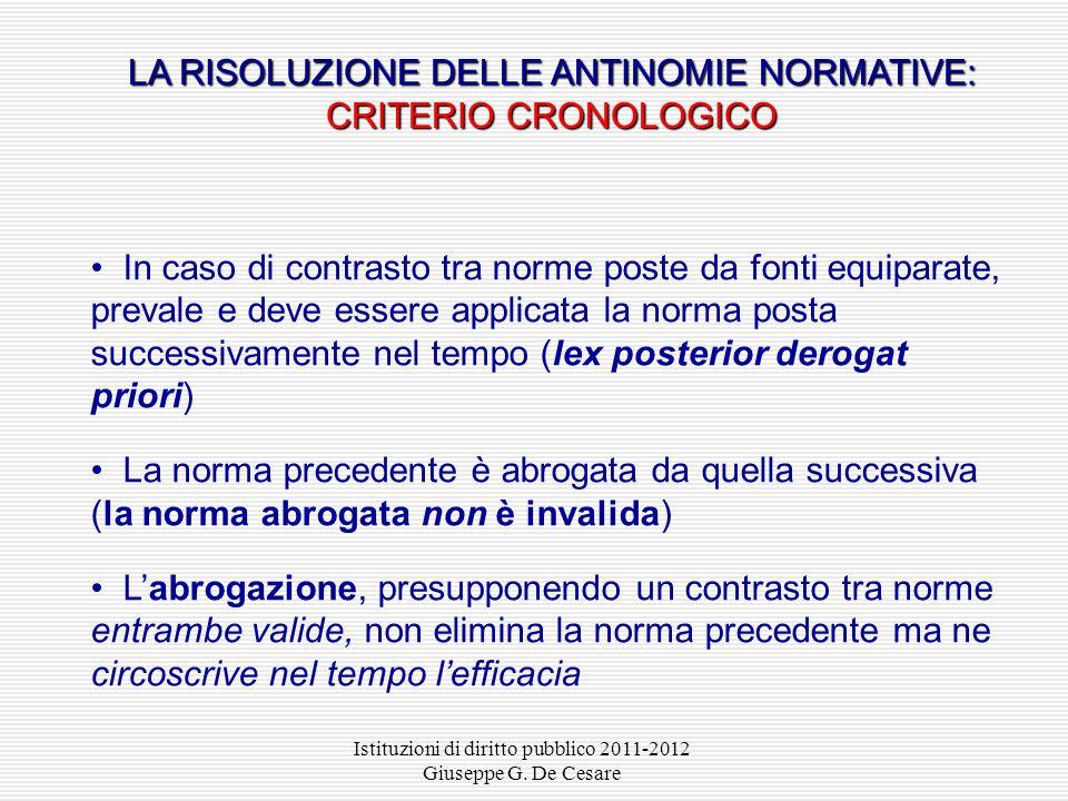 LA RISOLUZIONE DELLE ANTINOMIE NORMATIVE: CRITERIO CRONOLOGICO