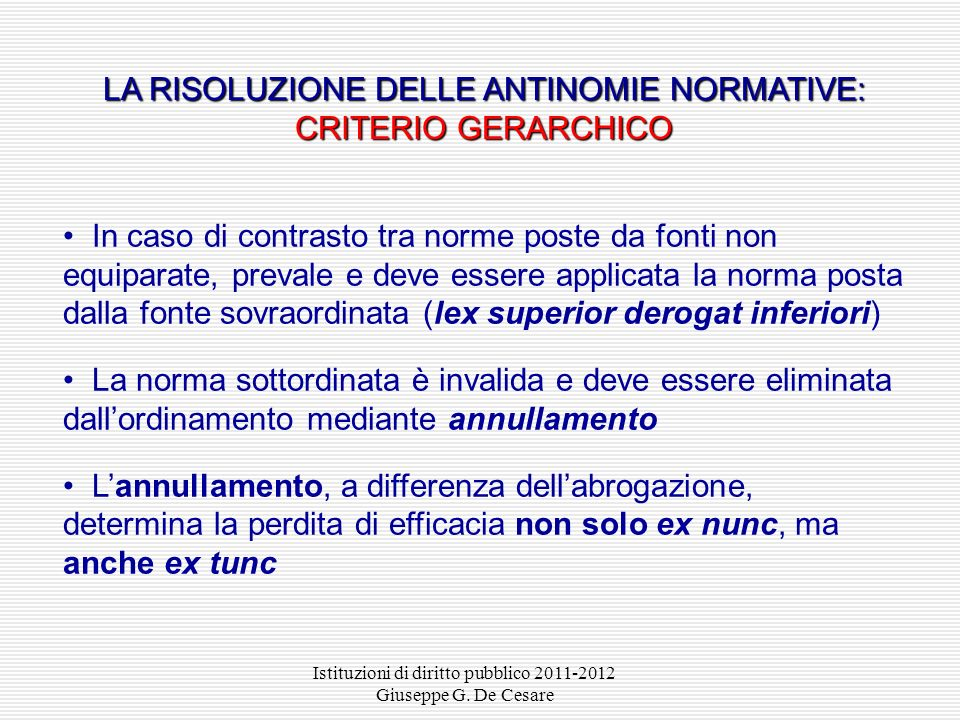 LA RISOLUZIONE DELLE ANTINOMIE NORMATIVE: CRITERIO GERARCHICO