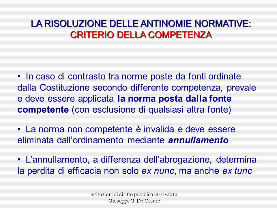 LA RISOLUZIONE DELLE ANTINOMIE NORMATIVE: CRITERIO DELLA COMPETENZA